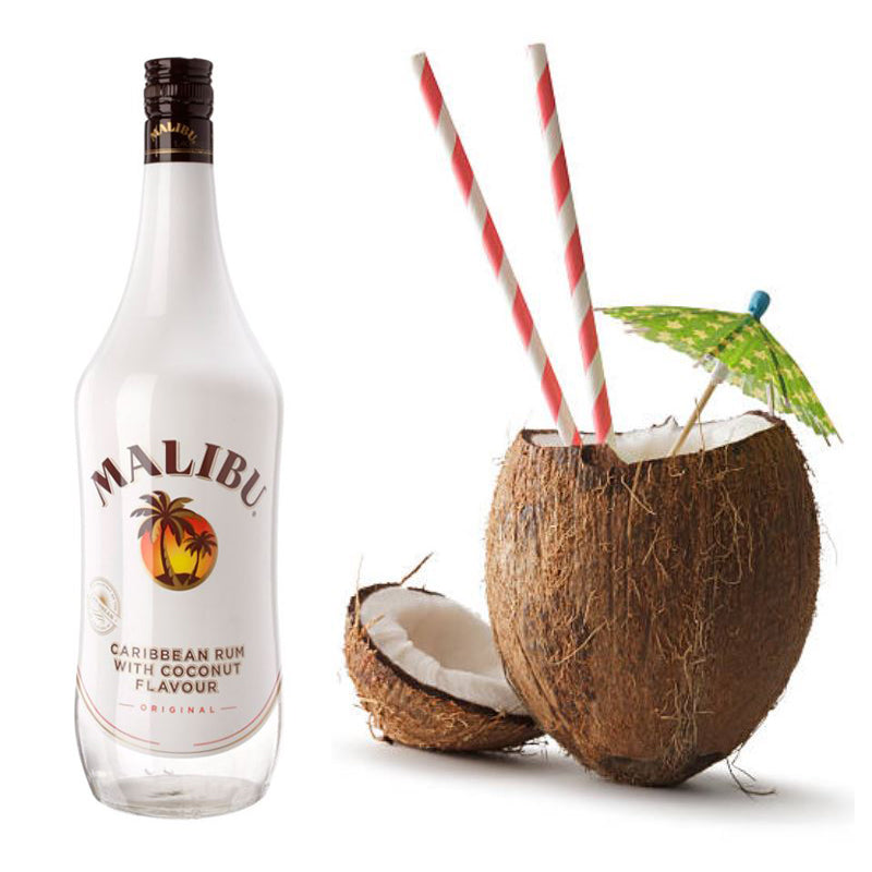 Malibu bottle and coconut with a straw