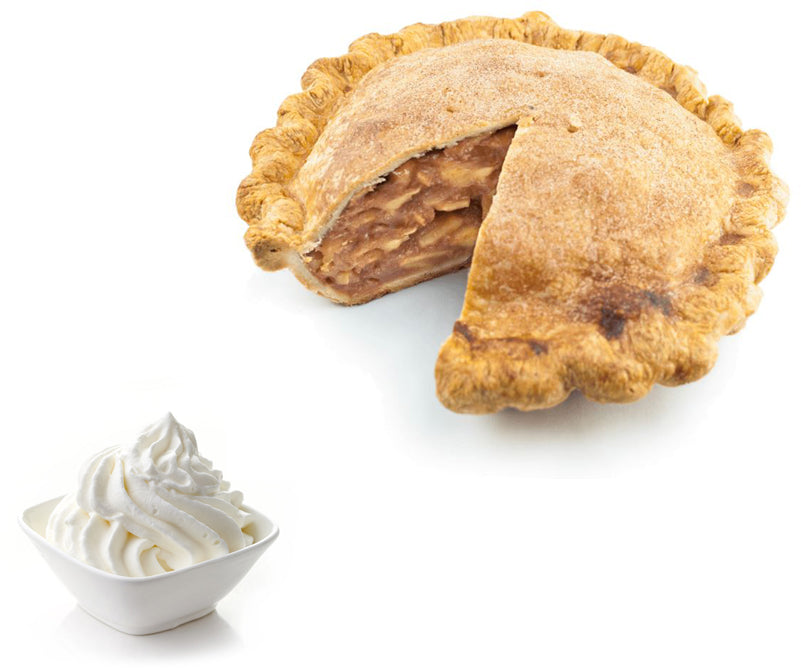 Apple pie with bowl of cream