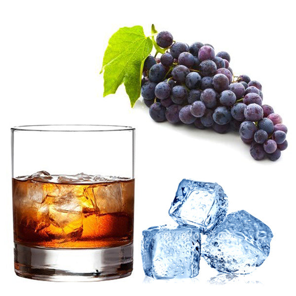 Bunch of purple grapes, Glass of ice and Bourbon and cola, 3 ice blocks.