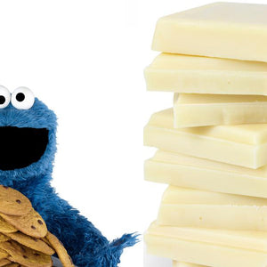 Cookie monster with cookies, Stack of white chocolate