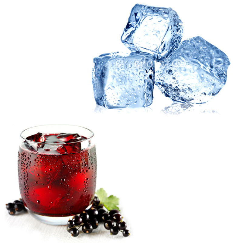 Black currents around a glass with blackcurrant juice, 3 ice cubes.