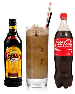 Kahlua in bottle, Coffee in glass, coke bottle
