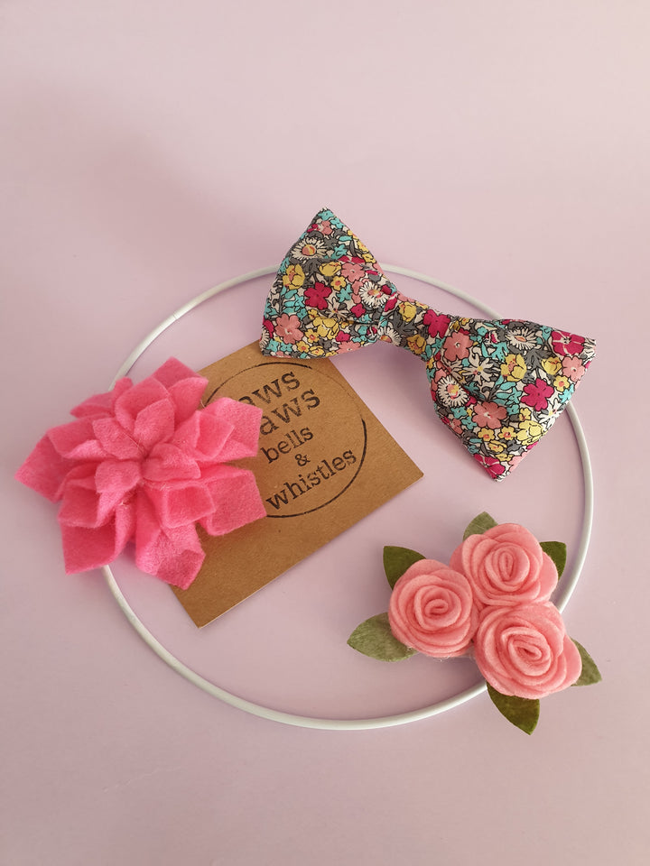 Dog Collar Swag felt flowers and fabric bow collar accessories