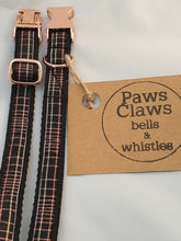 Load image into Gallery viewer, [Paws Claws bells and whistles] [Tartan Dog Collar] [paws claws bells & whistles] [Handmade Dog Collar] [Dog Bowtie] [Dog Collar Accessories] [Dog Bandana]