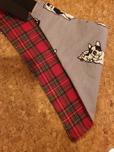 Reversible D Ring Bandana - Frenchie/Boston/Red Tartan