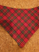 Load image into Gallery viewer, Reversible D Ring Bandana - Frenchie/Boston/Red Tartan