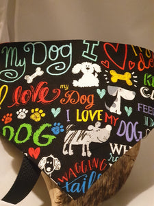 Reversible D Ring Safety Bandana - I Love My Dog