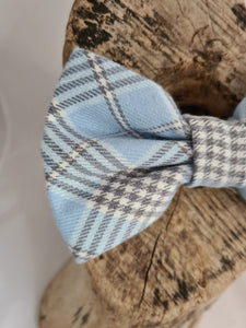 Baby Blue Plaid  Bow Tie