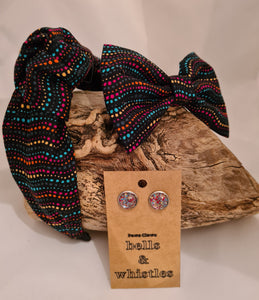 Matching Sets - Knot Hairband, Lug Studs & Dog Bow