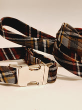 Load image into Gallery viewer, Scott Green Weathered Tartan Dog Collar & Lead Set