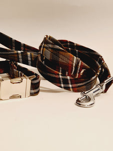 Scott Green Weathered Tartan Dog Collar & Lead Set
