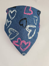 Load image into Gallery viewer, Eazzy Pezzy Reversible Bandana - Denim Hearts/Glitter