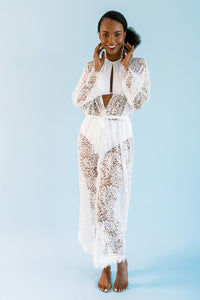 LONG BEAUTIFULLY SCALLOPED LACE BRIDAL COVER-UP