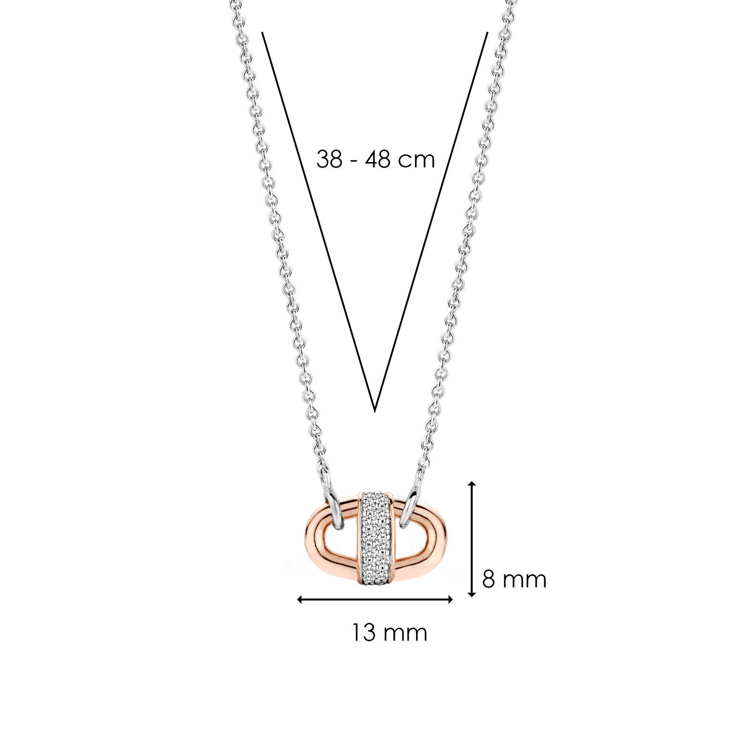 Rose Gold-plated Silver 13mm Barbell Pendant