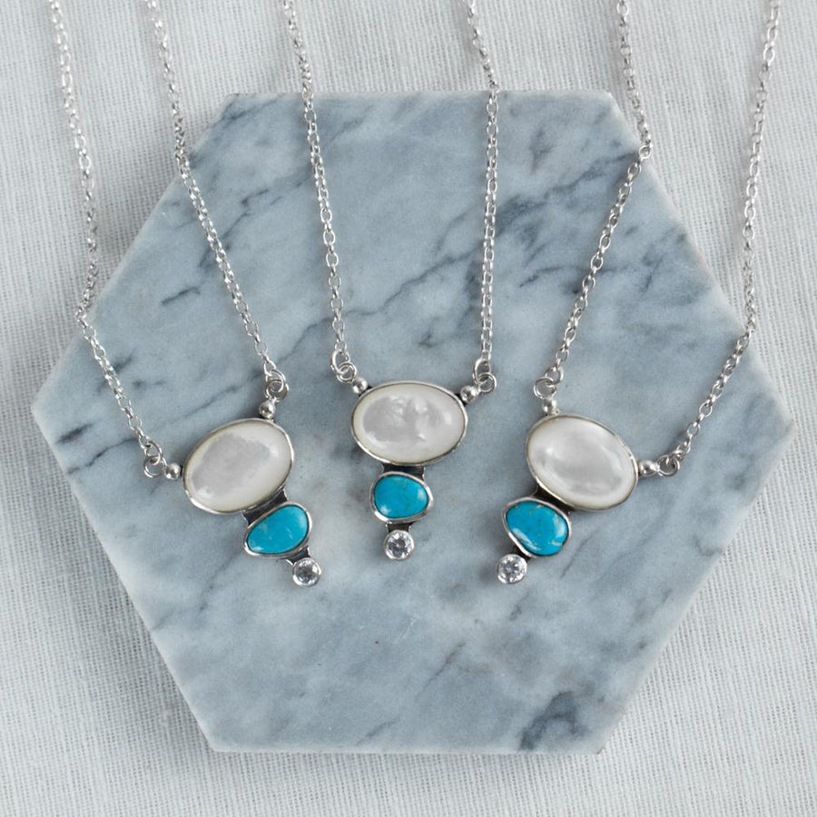 Mother of Pearl Droplet Necklace - Amy Jennifer Jewellery