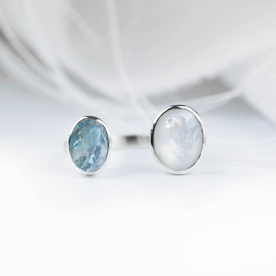 Oval Mother of Pearl Aquamarine Ring - Size 8-9