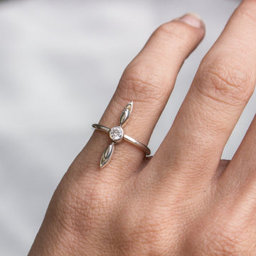 CZ Long Petal Ring - Amy Jennifer Jewellery