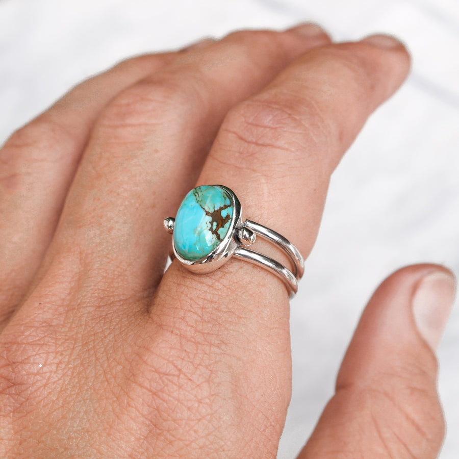 No 8 Turquoise Beaded Harri Ring size 6 - Amy Jennifer Jewellery