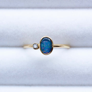 Australian Black Opal and Diamond Ring