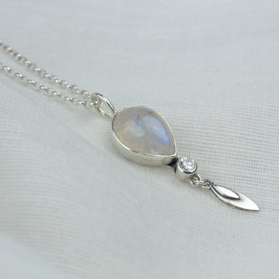 Moonstone Petal CZ Pendant Necklace - Amy Jennifer Jewellery
