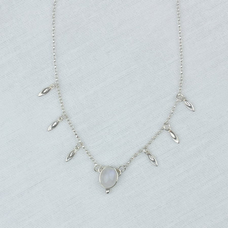 Moonstone Petal Charm Necklace - Amy Jennifer Jewellery
