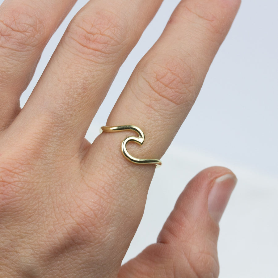 Gold Wave Ring- All Sizes - Amy Jennifer Jewellery