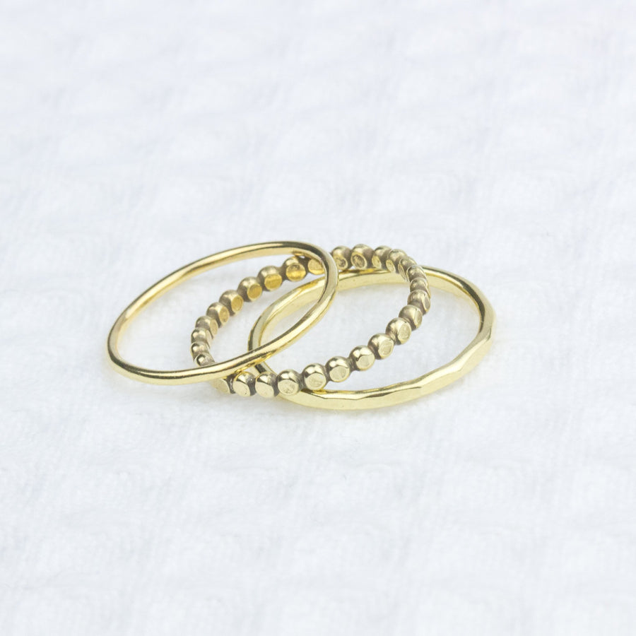 Golden 3 Stacking Rings - All Sizes - Amy Jennifer Jewellery