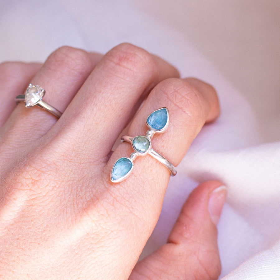 Triple Tourmaline Ring in Aqua Blue - Amy Jennifer Jewellery