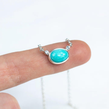 Turquoise & Topaz Oval Pendant Necklace