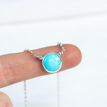 Turquoise & Topaz Circle Pendant Necklace