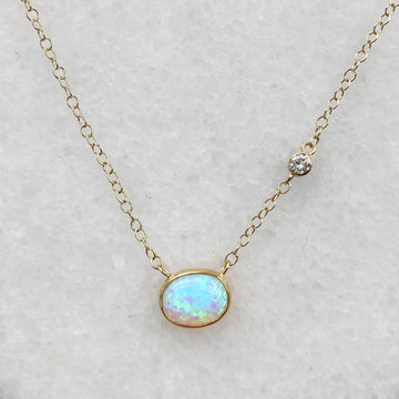 Off Shore Crystal Opal and Diamond Necklace in 18K Gold