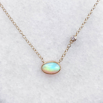 Shore Crystal Opal and Diamond Necklace in 18K Gold