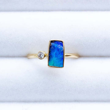 Australian Bolder Opal and Diamond Ring