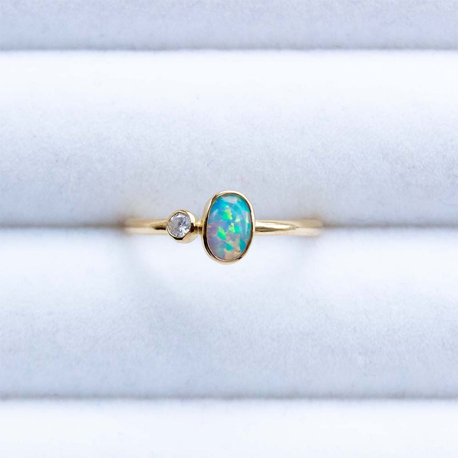 Black Opal Diamond Ring in 18K Yellow Gold