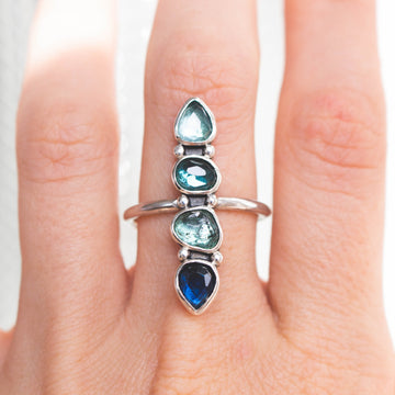 Water Rainbow 4 Stone Tourmaline Ring - Amy Jennifer Jewellery