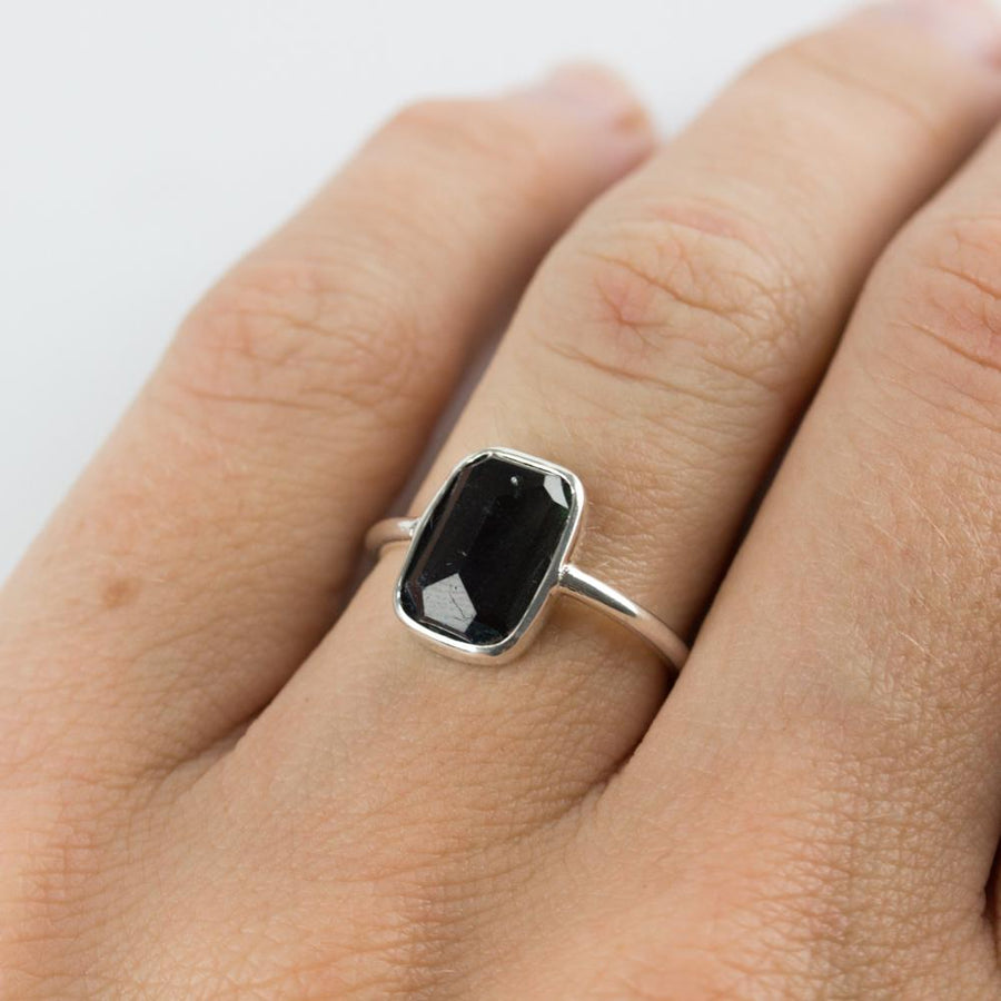Rectangle Tourmaline & Silver Ring - Size 5.75 / K 1/2 - Amy Jennifer Jewellery