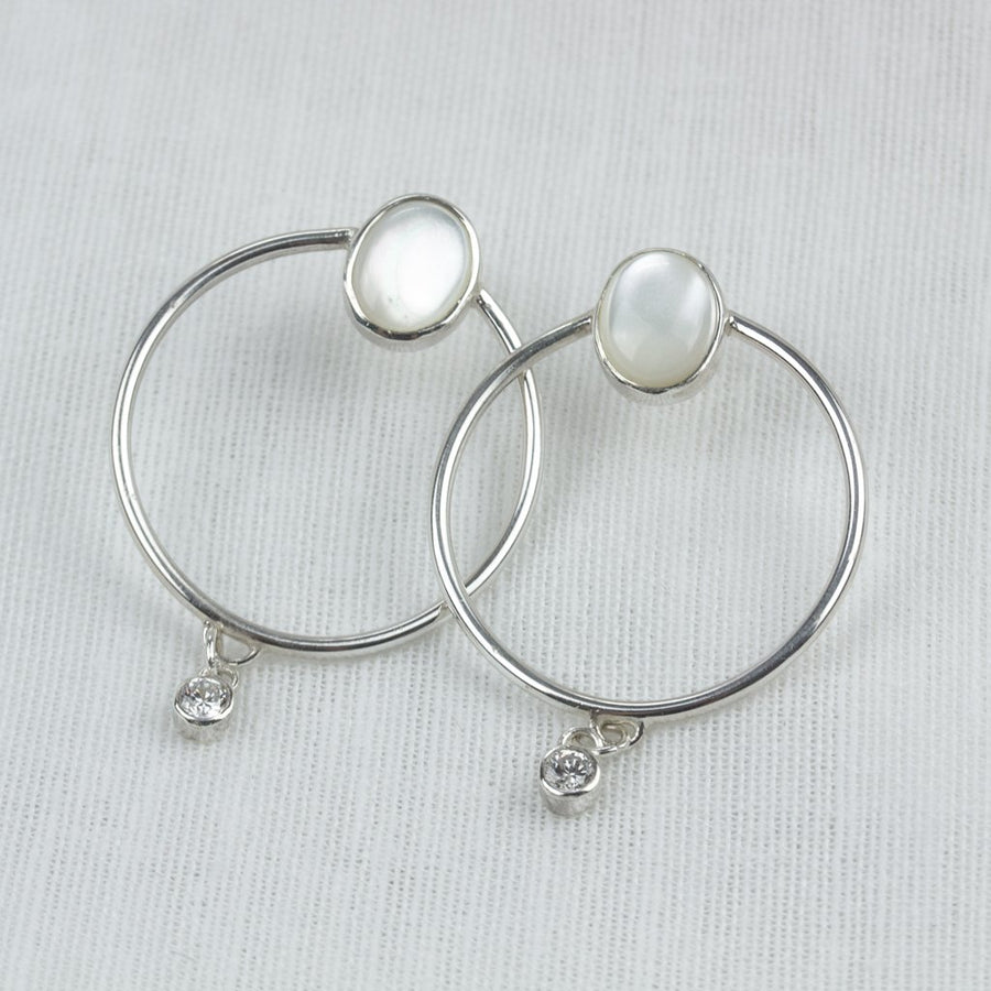 Mother of Pearl CZ Halo Hoops - Amy Jennifer Jewellery