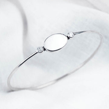 Mother of Pearl & White Topaz Bangle