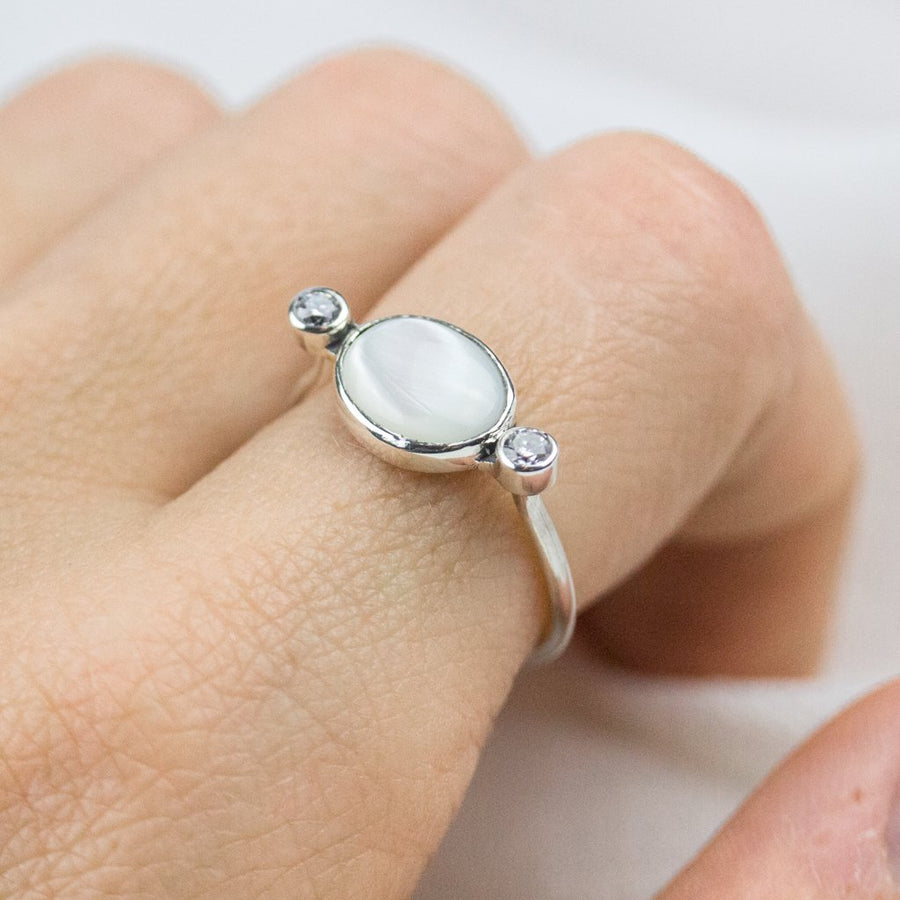 Mother of Pearl Zirconia Diamond Ring - Amy Jennifer Jewellery