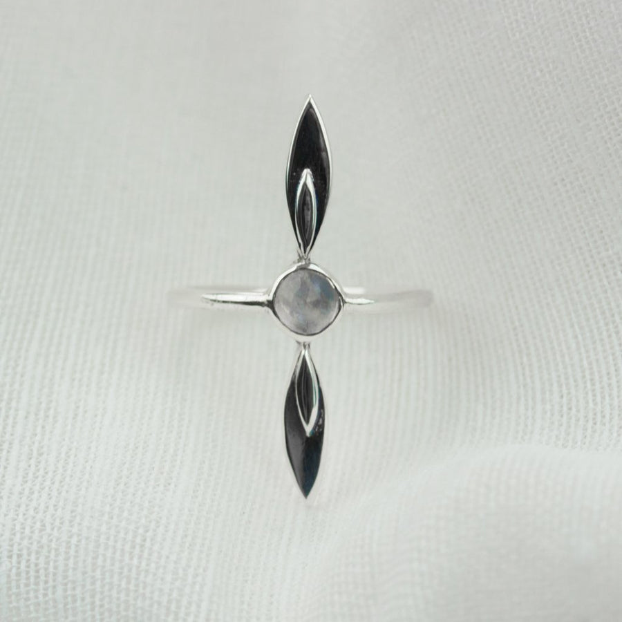 Moonstone Long Petal Ring - Amy Jennifer Jewellery