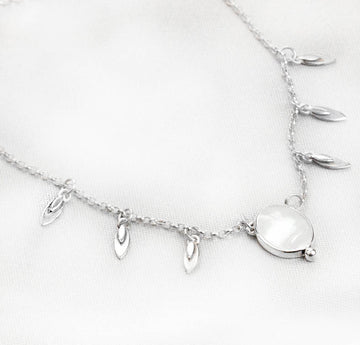 Mother of Pearl Petal Charm Necklace