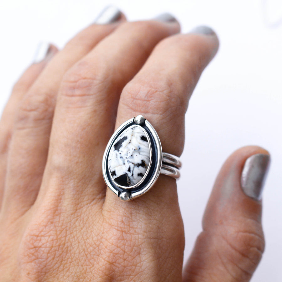Sacred White Buffalo Ring with a Silver Frame