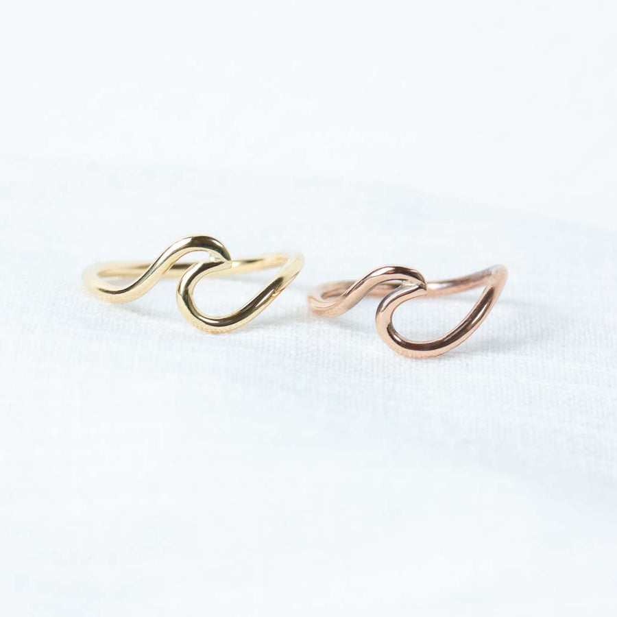 Rose gold wave ring yellow gold wave ring