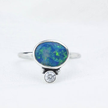 Australian Opal Ocean Reef Ring with White Topaz