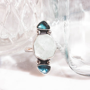 Raw Aquamarine and Teal Tourmaline Triple Ring - Amy Jennifer Jewellery