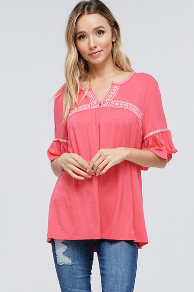 Ruffle Sleeves Embroidered V-Neck Top
