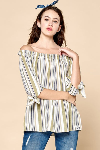 Tie Sleeve Variegated Striped Off-Shoulder Blouse