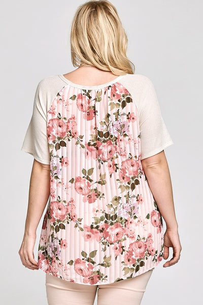 Solid Knit Top with a Contrast Floral Back Panel