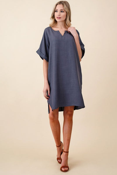 Linen Roll Up Sleeve Dress