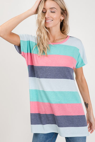 Short Sleeve Multi Color Stripe Top